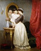 Mirror Reflection Posters - Reflections of Maternal Love Poster by Robert Julius Beyschlag