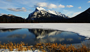 Rundle Prints - Reflections Of Mount Rundle Print by Bob Christopher