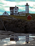 Nubble Lighthouse Framed Prints - Reflections Of Nubble Lighthouse Framed Print by Scott Moore