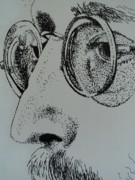 The Beatles John Lennon Drawings - Reflections of Peace John Lennon by Carla Carson