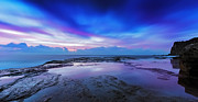 Seascape With Clouds Posters - Reflections of Pink and Blue Poster by Mark Lucey