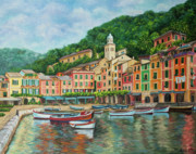 Colorful Village Posters - Reflections Of Portofino Poster by Charlotte Blanchard