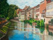 Europe Painting Framed Prints - Reflections Of Strasbourg Framed Print by Charlotte Blanchard