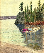 Lakeshore Paintings - Reflections of Transquility by Theodore A Gault