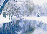Snow-covered Landscape Mixed Media Prints - Reflections Of Winter Print by Zeana Romanovna