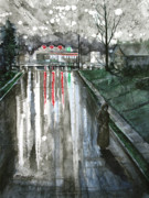 Raining Mixed Media Prints - Reflections on Alone Print by Patricia Allingham Carlson