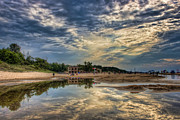 Bath-house Photos - Reflections on the Beach by Scott Wood