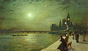 Night Lamp Painting Posters - Reflections on the Thames Poster by John Atkinson Grimshaw