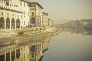 Arno River Prints - Reflections Over Arno River, Florence, Italy Print by Gil Guelfucci