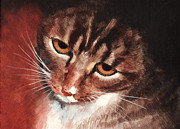 Egg Tempera Painting Metal Prints - Reflective Kitty Metal Print by Tricia Griffith