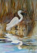 River Tapestries - Textiles Prints - Reflelcted Egret Print by Shirley Roma Charlton