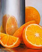 Food And Beverage Painting Originals - Reflet orange by Muriel Dolemieux