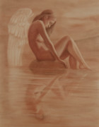 Angel Art Pastels Framed Prints - Reflexion Framed Print by Leonardo Pereznieto