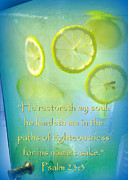 Psalm 23 Posters - Refreshment with Scripture Poster by Cindy Wright