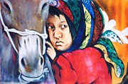Rights Paintings - Refugee Girl by Surya Prakash Makarla