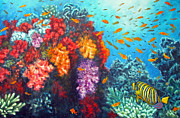 Scuba Paintings - Regal angelfish and soft corals by Jennifer Belote