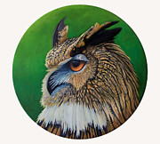 Great-horned Owls Paintings - Regal Gaze by Brian  Commerford