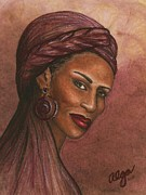 People Pastels Framed Prints - Regal Lady in Plum Framed Print by Alga Washington