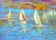 Caribbean Sea Paintings - Regatta 1 by Arnold Grace