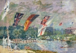 Flag Framed Prints - Regatta at Molesey Framed Print by Alfred Sisley