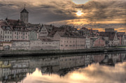 River View Photo Metal Prints - Regensburg Cityscape Metal Print by Anthony Citro