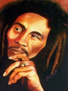 African-american Drawings Posters - Reggae King Poster by Keith Burnette