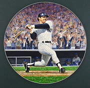 Yankees Mixed Media Framed Prints - Reggie Jackson Framed Print by Cliff Spohn