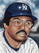New York Yankees Drawings - Reggie Jackson by Rob Payne