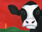 Optimistic Paintings - Regina the Happy Cow by Kristi L Randall