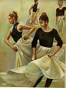Ballet Dancers Painting Posters - Rehearsal For A Spanish Ballet Poster by Podi Lawrence