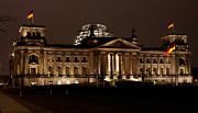 Berlin Germany Prints - Reichstag at Night Print by Mike Reid