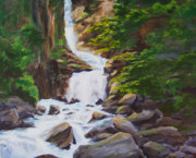 Waterfalls Paintings - Reid Falls by Ronald Lightcap