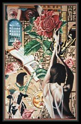 Illustrative Framed Prints - Reign of Roses Framed Print by Nancy M Garrett