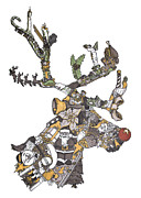 Gray Drawings Prints - Reindeer Games Print by Tyler Auman