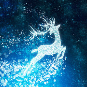 Christmas Art - Reindeer stars by Setsiri Silapasuwanchai
