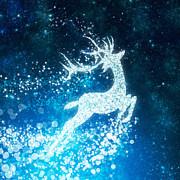 Reindeer Stars Print by Setsiri Silapasuwanchai