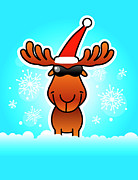 Front View Digital Art Posters - Reindeer Wearing Santa Hat And Sunglasses Poster by New Vision Technologies Inc