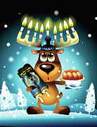 Wildlife Celebration Posters - Reindeer With Menorah For Antlers Poster by New Vision Technologies Inc