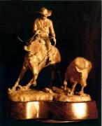 Western Art Sculptures - Reined Cowhorse bronze sculpture  Turnback by Kim Corpany