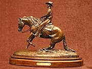 Animals Sculptures - Reining Horse - The Sliding Stop by Bob Scheelings