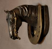 Animals Sculptures - Reining Horse Bronze Door Knocker Sculpture by Kim Corpany