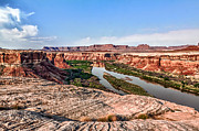 Sandstone Canyons Photos - Relaxing above the Green River by Scott Hansen