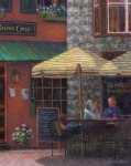 Suburban Paintings - Relaxing at the Cafe by Susan Savad