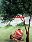 Reading The Paper Prints - Relaxing by the River in London Print by Vicki  Housel