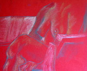 Sitting  Pastels Posters - Relaxing In Red Poster by Rory Sagner