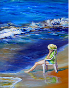 Outer Banks Paintings - Relaxing On The Outer Banks by Diane Kraudelt