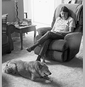 Reminiscing Prints - Relaxing with the Worlds Best Dog 2 Print by Lenore Senior