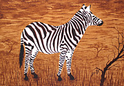 Cloudy Paintings - Relaxing Zebra in African Savanna by Georgeta  Blanaru