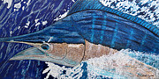 Blue Marlin Paintings - Release Me by Carol Lynne