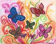Wings Drawings - Releasing Butterflies I by Denise Hoag